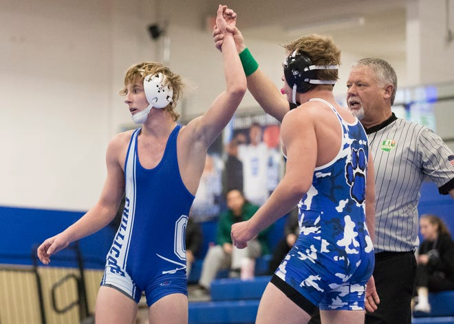 Chillicothe junior Caleb Lake wrestled up and defeated his 145-pound Washington Court House opponent during a wrestling duel hosted by Chillicothe on Jan. 16, 2020.