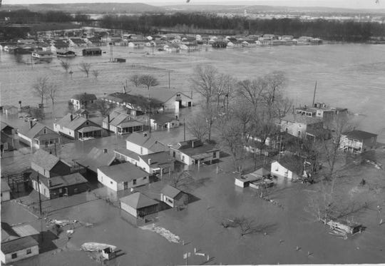 An aerial photo showing the devastation from the January 1959 flood.