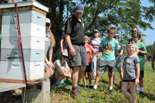 Visitors to Cincinnati Zoo and Botanical Garden's Bowyer Farm watch for bees to emerge at the beekeeping area of the Warren County farm.