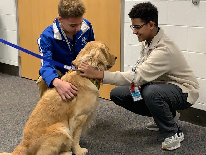 St. Xavier students welcome Evan, the Facility Dog for Therapy.