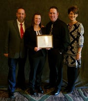 Amanda Small pictured in December 2018 during the NJSIAA's annual Hall of Fame luncheon and awards ceremony, at which she received a special honor for her contributions to the sport of bowling