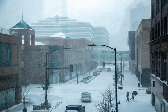 Snow blankets downtown Des Moines Friday, Jan. 17, 2020.