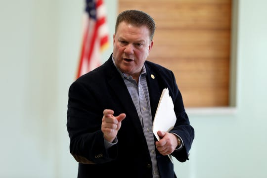 Michigan Senator Peter Lucido listens to questions during a town hall at the Washington Activity Center on Friday, Jan. 17, 2020, in Washington Township.