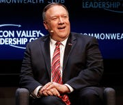 Secretary of State Mike Pompeo speaks at the Commonwealth Club in San Francisco in this Jan. 13, 2020, file photo. Pompeo on Friday broke nearly 72 hours of silence over alleged surveillance and threats to the former U.S. ambassador to Ukraine.