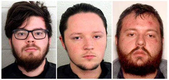 These undated photos provided by Floyd County, Ga., Police show from left, Luke Austin Lane of Floyd County, Jacob Kaderli of Dacula, and Michael Helterbrand of Dalton, Ga.