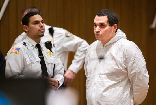 Miguel Rodriguez, who is being charged with abducting an 11-year-old girl, is arraigned in Springfield District Court Thursday, Jan. 16, 2020, in Springfield, Mass.
