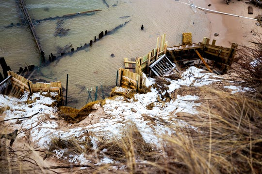 Retaining walls begin to crumble along the Lake Michigan shoreline in Shelby.