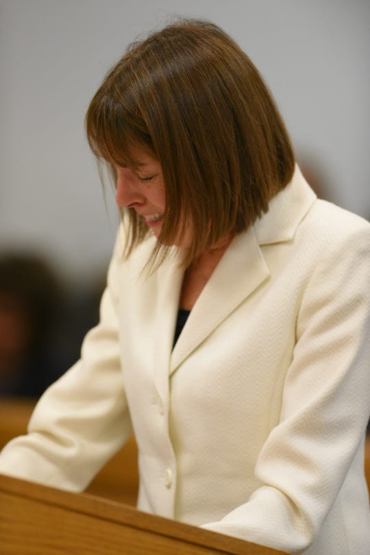 Former Judge Theresa Brennan addresses the court before sentencing.