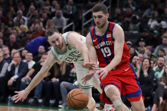 Boston Celtics forward Gordon Hayward tries to steal the ball from Detroit Pistons guard Svi Mykhailiuk during the second half Wednesday night.
