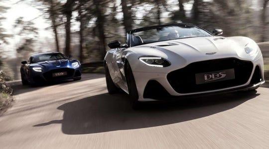 Aston Martin's DBS Superleggera Coupe, left, and Volante are shown.