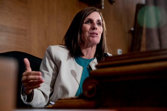 FILE - In this Sept. 10, 2019, file photo, Sen. Martha McSally, R-Ariz., speaks at a Senate Banking Committee hearing on Capitol Hill in Washington.