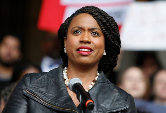 FILE - In this Oct. 1, 2018 file photo, Boston City Councilor Ayanna Pressley speaks at a rally at City Hall in Boston.
