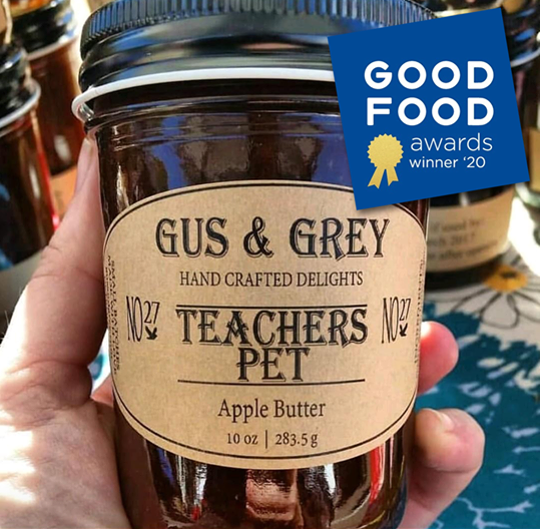 Gus & Grey apple butter Teacher's Pet won a Good Food Award in San Franciso.