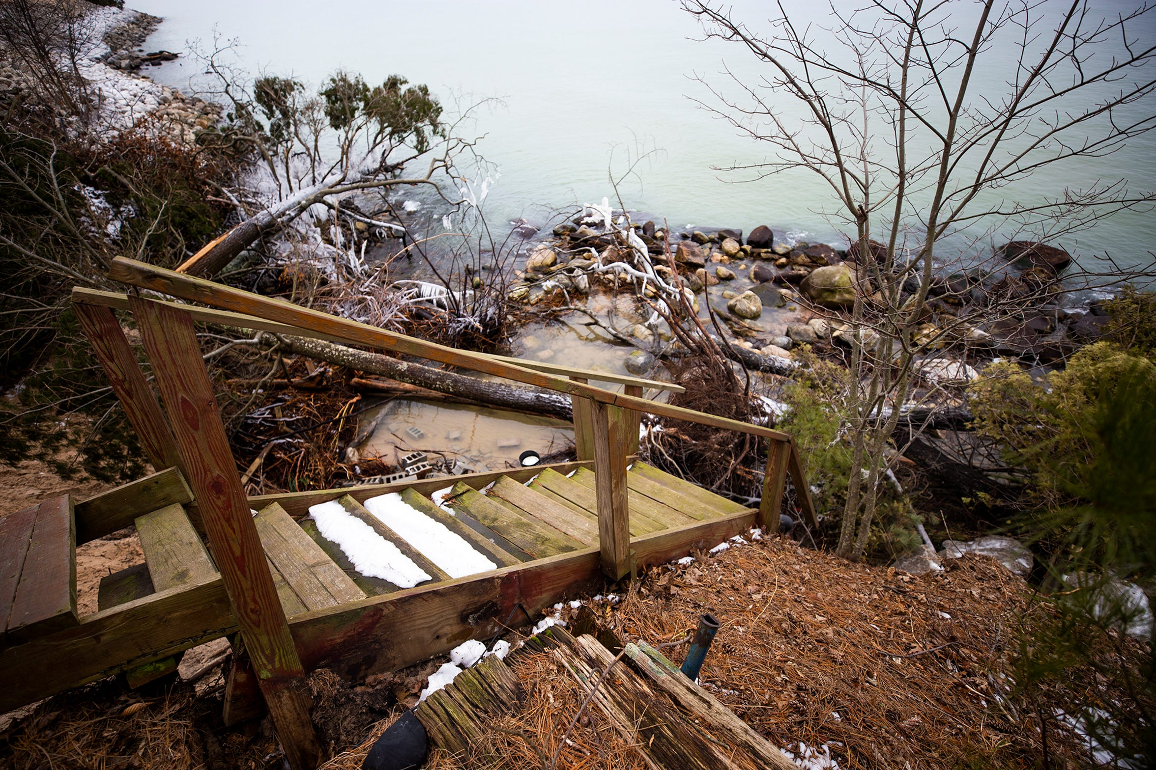This staircase used to lead to Juniper Beach in Golden Township but the bottom of the stairs have fallen into Lake Michigan.