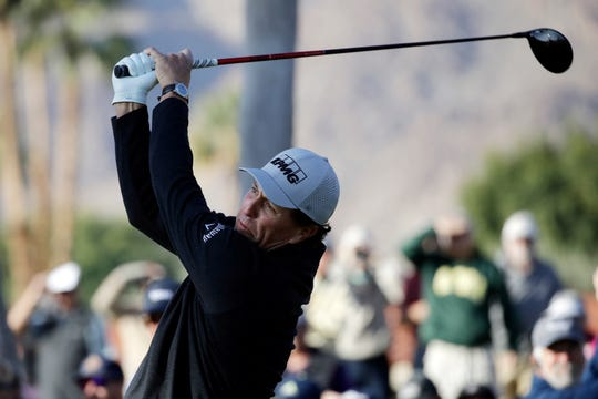 Phil Mickelson hits from the second tee.