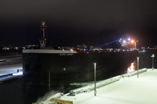 The last vessel to traverse the Poe Lock for the 2019-20 shipping season was the 1,000-foot freighter Burns Harbor.