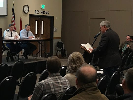Fort Collins Mayor Wade Troxell addresses U.S. Army Corps of Engineer officials during a hearing on the proposed expansion of Halligan Reservoir.