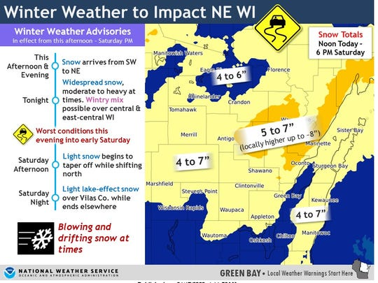 Central and northeastern Wisconsin are bracing for a storm that should begin Friday night and last into Saturday.