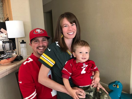 Nicole Salzberg and her family leave no doubt about where their football allegiances lie.