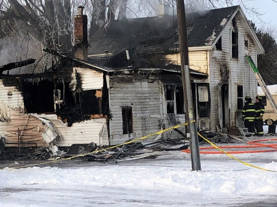 A home on Fabry Street in the city of Oconto, where four people died in fire early this morning, Jan. 17.