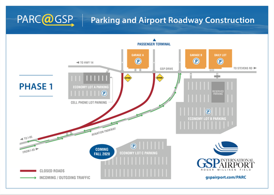 A rendering shows plans for a new economy parking lot at GSP International Airport.