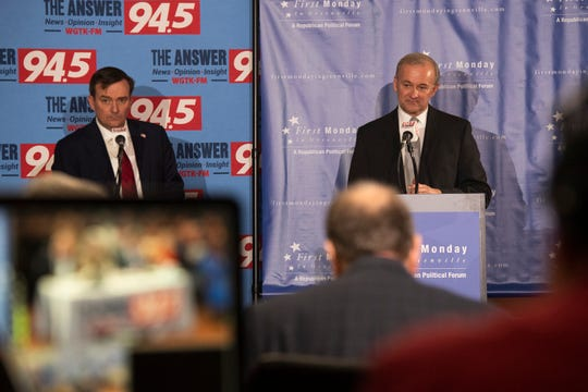 Hobart Lewis (left) and A.T. Smith participate in a debate Thursday, Jan. 16, 2020 held at the Global Trade Park. They are running for the Republican nomination for Greenville County Sheriff.