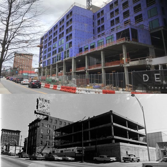 Camperdown then and now. The top photo shows the Camperdown site in 2020. The bottom shows the site in 1967.
