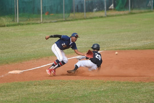 New Zealand player Brooklyn Te Kawa (Spratt) attempts to slide to third base against Guam's Franklin Ninete, Jr. (22) during a game in the U-15 Baseball Confederation of Oceania Championships at Paseo Stadium, Hagåtña, Jan. 17, 2020.