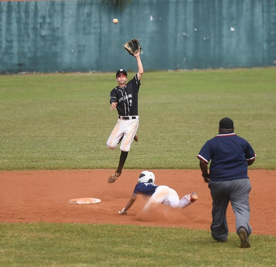 New Zealand's Zach Smith rises to catch the ball against Guam during their U-15 Baseball Confederation of Oceania Championships matchup at Paseo Stadium, Hagåtña, Jan. 17, 2020.
