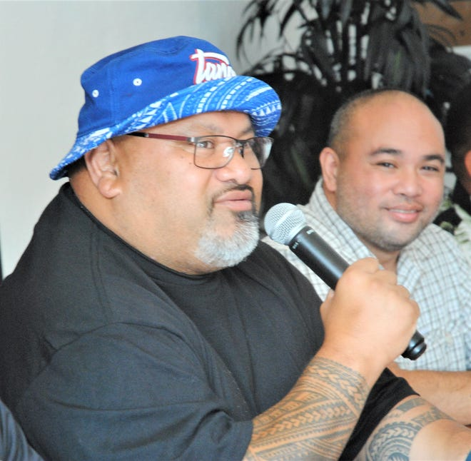 "Tofiga Fepulea'I of the ""Laughing Samoans"" will perform Saturday night at ""Laugh Wid Us"" event, Gov. Joseph Flores Beach Park in Tumon. He spoke at press conference at Coffee Slut restaurant in East Agana, Jan. 17, 2020."