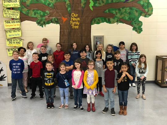THe East HEaights Leaders of the Month for December, 2019 are, front row, from left, Nick Murrell, Adalyn Norsworthy, Penny Hybarger, Hadley Mathis, Elijah Bennett, Kimberly Bennett. Second row, from left,  Logan Jenkins, Hudson Tyler, Audri Thomas, Cole Zehner, Grayson Yates, Franny Littlepage, Isaiah Kemp, Chloe Samples. Third row from left, Zoie Pierre, Peyton Turley. Fourth row, from left,  Kayleigh Taft, Parker Mills, Maddox Golday, Vailynn Buckboro, Sophia Smith, Kaitlyn Thurby, Layla Tanaka, Abigail Lara Castro, Alyssa Jones.