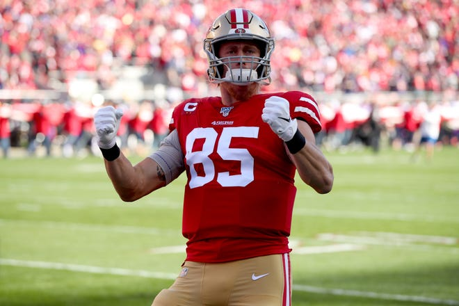 San Francisco 49ers tight end George Kittle (85) interacts with the crowd before last week's playoff game against the Minnesota Vikings.