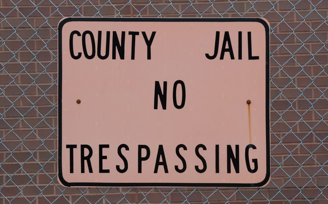 """A sign signals """"No Trespassing,"""" at the Johnson County Jail, 1091 Hospital Rd, Franklin, Ind., Friday, Jan. 17, 2020."""