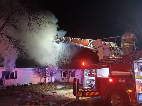 A home on Prairie Du Chien Road in Iowa City sustains damage during a fire early Friday morning, Jan. 17, 2020.