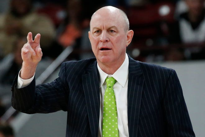 Mississippi State head coach Ben Howland calls out to his team during the first half of an NCAA college basketball game against Auburn, Saturday, Jan. 4, 2020, in Starkville, Miss. Auburn won 80-68. (AP Photo/Rogelio V. Solis)