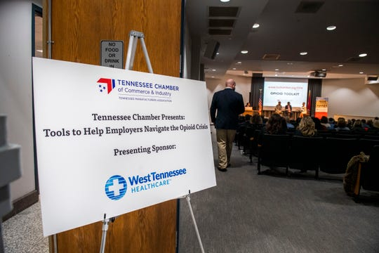 The Tennessee Chamber of Commerce and Industry hosted a presentation at Ayers Auditorium in Jackson, Tenn., on Friday, Jan. 17, 2020, about tools to help employers navigate the opioid crisis.