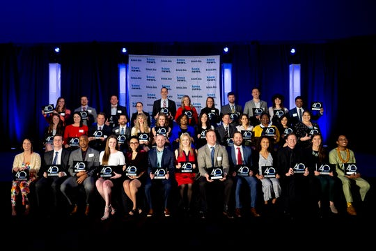 The 40 Under 40 Class of 2019 poses for a group photo at Knox.biz's 40 Under 40 Gala held at the Knoxville Convention Center in Knoxville, Tenn. on Thursday, Jan. 16, 2020.