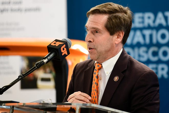 Rep. Chuck Fleischmann speaks at an announcement ceremony of a research partnership between the University of Tennessee and Volkswagen at Cherokee Farms in Knoxville, Tenn. on Friday, Jan. 17, 2020. UT, Volkswagen and Oak Ridge National Laboratory will work together to research lightweight car components and develop electric vehicles.