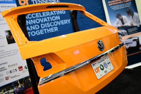 A liftgate for a Volkswagen Atlas is shown on display made of the lightweight composite material during an announcement ceremony of a research partnership between the University of Tennessee and Volkswagen at Cherokee Farms in Knoxville, Tenn. on Friday, Jan. 17, 2020. UT, Volkswagen and Oak Ridge National Laboratory will work together to research lightweight car components and develop electric vehicles.