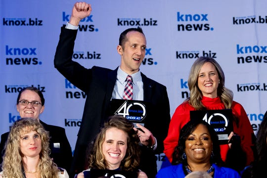 Honoree John Sergent celebrates at Knox.biz's 40 Under 40 Gala held at the Knoxville Convention Center in Knoxville, Tenn. on Thursday, Jan. 16, 2020.