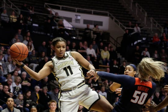 Purdue guard Dominique Oden (11) keeps the rebound in play during the third quarter of a NCAA women's basketball game, Thursday, Jan. 16, 2020 at Mackey Arena in West Lafayette.