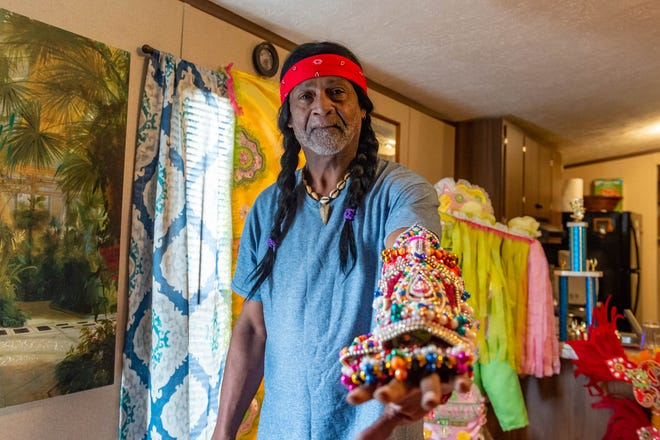 Alton Armstrong  discussing the Mardi Gras Indian Costume tradition. Thursday, Jan. 16, 2020.