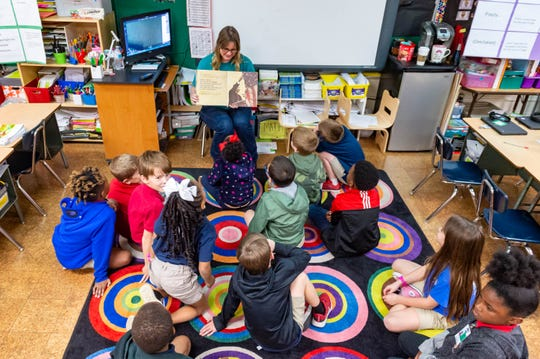 Christy Taylor teaching class as Woodvale Elementary host Leadership Day showcasing students as they learn to become safe, respectful, and responsible leaders.  Friday, Jan. 17, 2020.