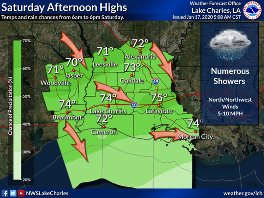 A cold front moving through Acadiana will bring rain and then cooler temperatures. The rain is expected to start Saturday afternoon in Lafayette.