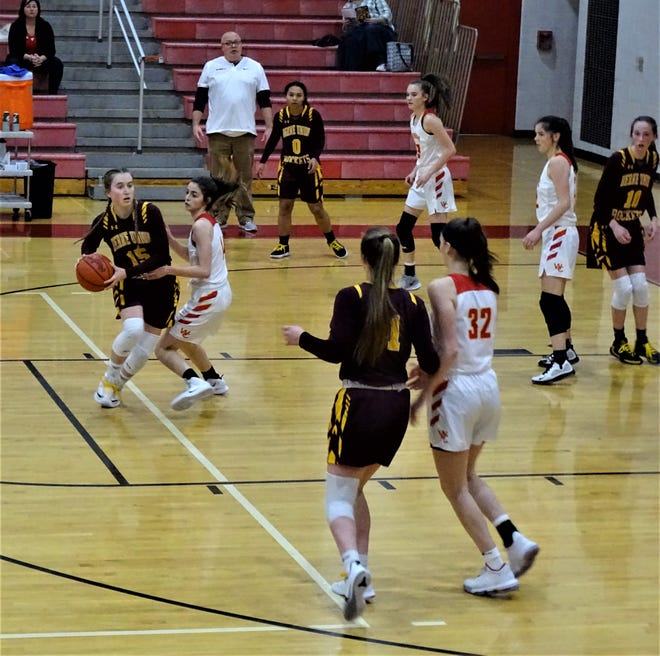 Berne Union's Emily Blevins looks to pass the ball to a teammate during the Rockets' 44-37 non-conference win over Worthington Christian Thursday night.