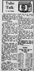 The TV column from the Jan. 16, 1964 Lancaster Eagle-Gazette.