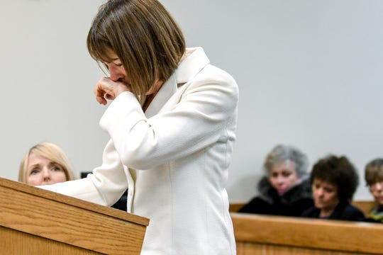 Former Livingston County Judge Theresa Brennan becomes emotional while addressing the court during her sentencing on Friday, Jan. 17, 2020, in Howell. Brennan was sentenced to six months in jail.