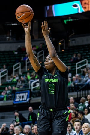 Michigan State's Mardrekia Cook makes a 3-pointer during the fourth quarter on Thursday, Jan. 16, 2020, at the Breslin Center in East Lansing.