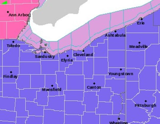 Marion County, along with the rest of northern Ohio, is under a winter weather advisory from 9 p.m. Friday to 3 p.m. Saturday, according to the National Weather Service.