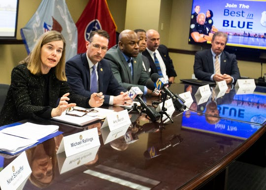 Shelby County District Attorney General Amy P. Weirich addresses the media about the ongoing effort to control overall violent crime in Memphis on Friday Jan. 17, 2020. Weirich and the man to her left, U.S. Atty. Mike Dunavant, are among the members of the Memphis Shelby Crime Commission.